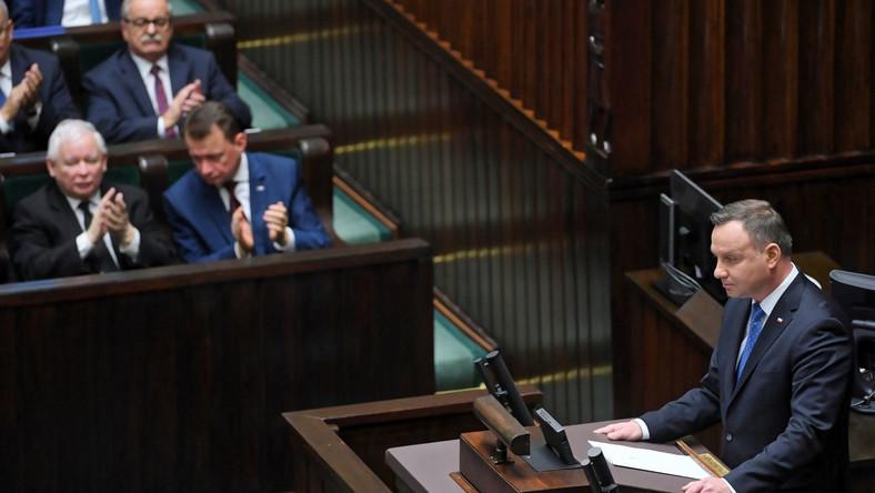 Orędzie prezydenta Andrzeja Dudy w Sejmie