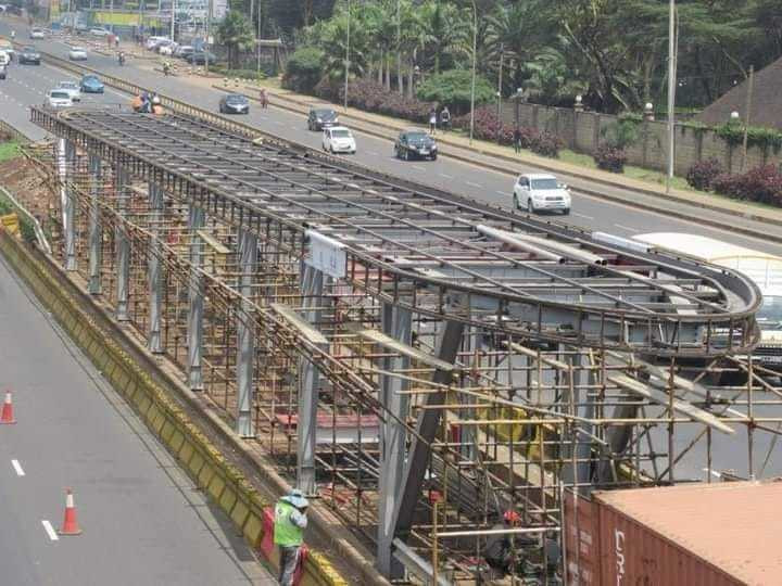 Construction of a BRT station along Thika Superhighway