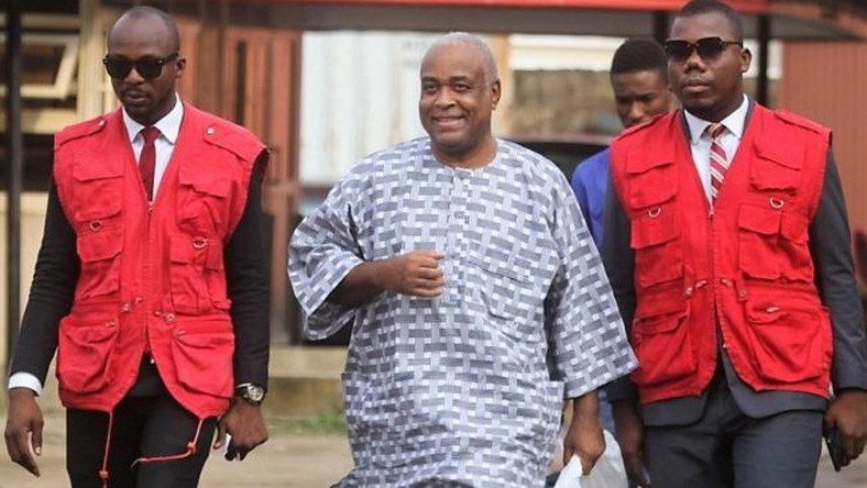 John Abebe, brother to late former First Lady, Mrs Stella Obasanjo being led by EFCC operatives