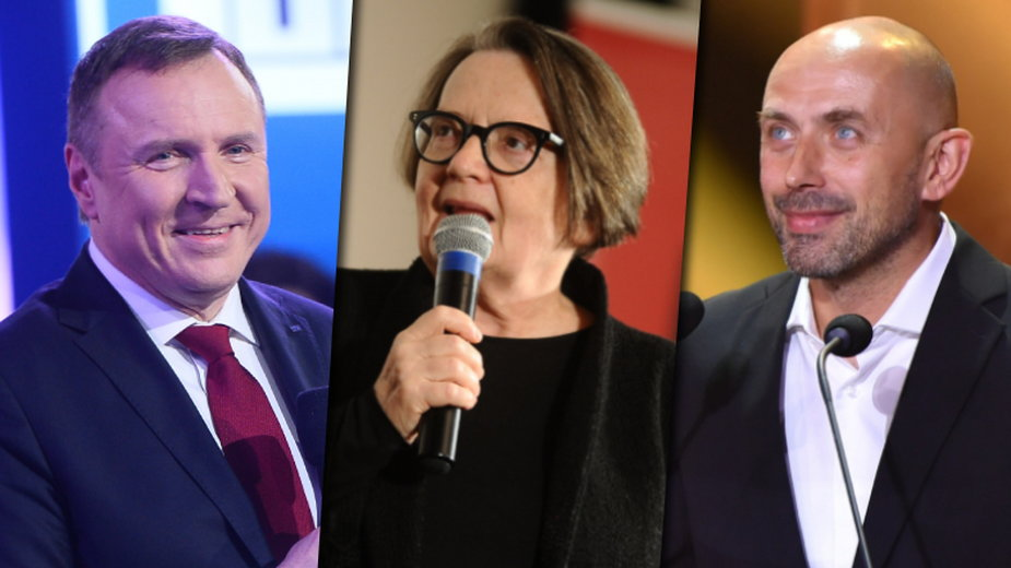 Jacek Kurski (fot. MW Media), Agnieszka Holland (MW Media, fot. Piotr Andrzejczak) i Bartosz Blaschke