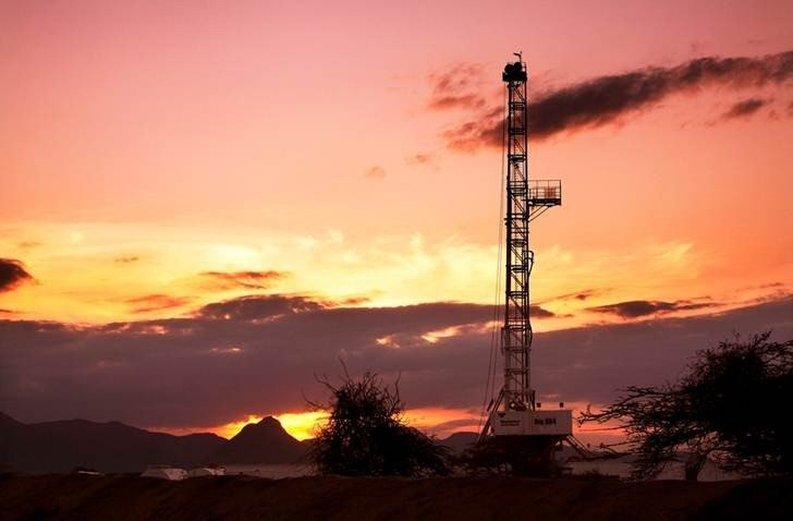 An oil rig used in drilling at the Ngamia-1 well on Block 10BB, in the Lokichar basin, which is part of the East African Rift System, is seen in Turkana County,