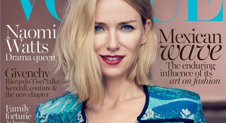Naomi Watts covers Vogue Australia October 2015 edition