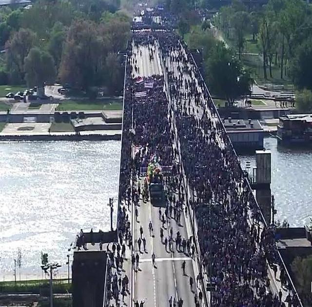Kolona preko Brankovog mosta
