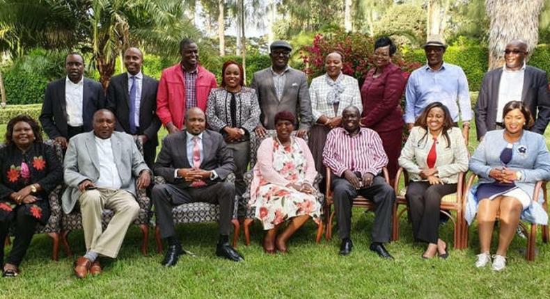 File image of a section of Tangatanga MPs at Mathira MP Rigathi Gachagua's home after President Uhuru Kenyatta's meeting at Sagana State Lodge in Nyeri. Moses Kuria has announced that at least 200 MPs will meet in Naivasha tonight