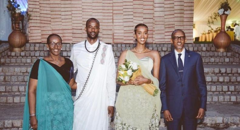 Rwandese First Lady Jeannete Kagame, Bertrand Ndengeyingoma, Ange Kagame and President Paul Kagame at the wedding