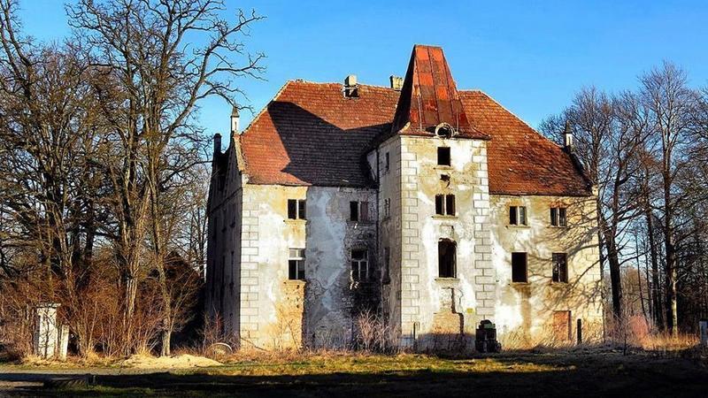 Żarki Średnie koło Zgorzelca - zrujnowany pałac i folwark