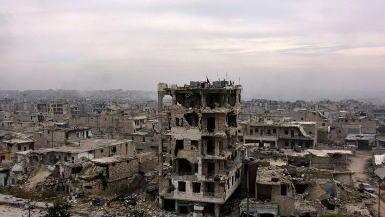 Destroyed buildings in Aleppo's eastern al-Shaar neighbourhood
