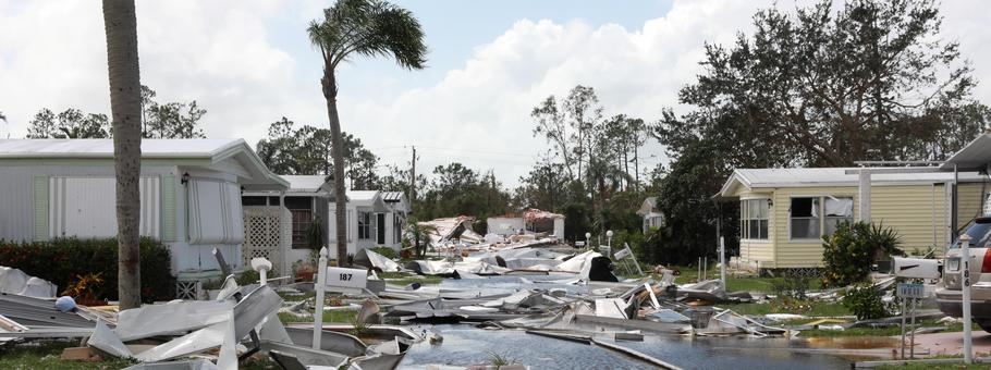 Property damage is seen at a mobile home park after passing of Hurricane Irma in Naples