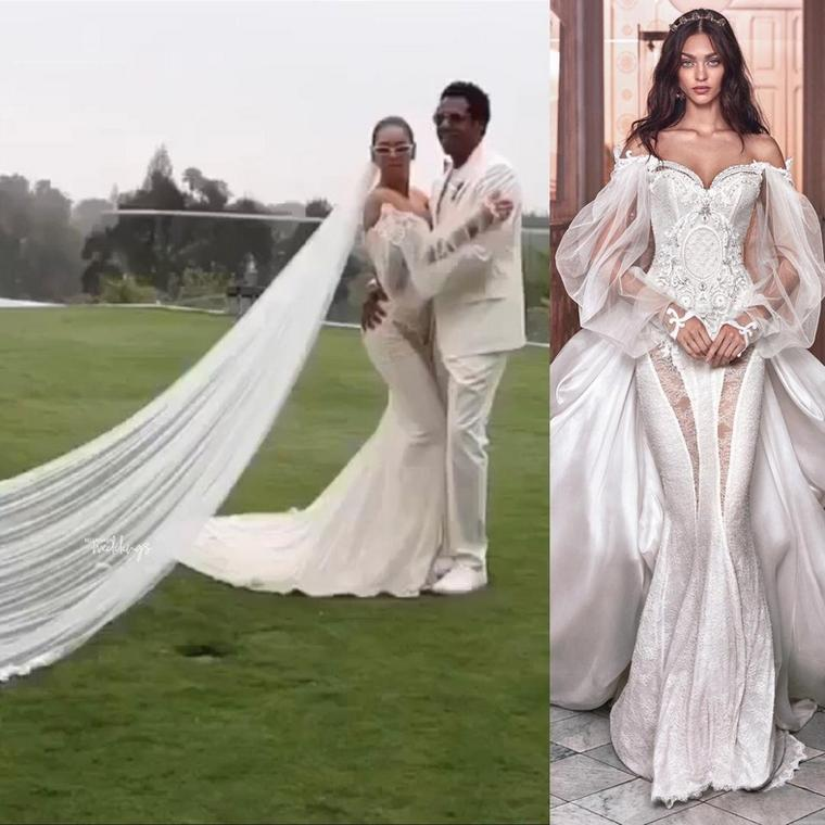 A side by side comparison of Beyonce and the model in the Victorian-style wedding dress