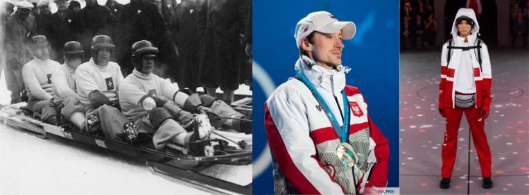 Od lewej: zdjęcie szwajcarskiej czwórki bobslejowej nr 1: Reto Capadrutt, Hans Aichele, Fritz Feierabend, Hans z 1936 roku, w środku Adam Małysz na igrzyskach w Vancouver 2010 (zdjęcie: PKOL), po prawej najnowsza Kolekcja Olimpijska PYEONGCHANG 2018