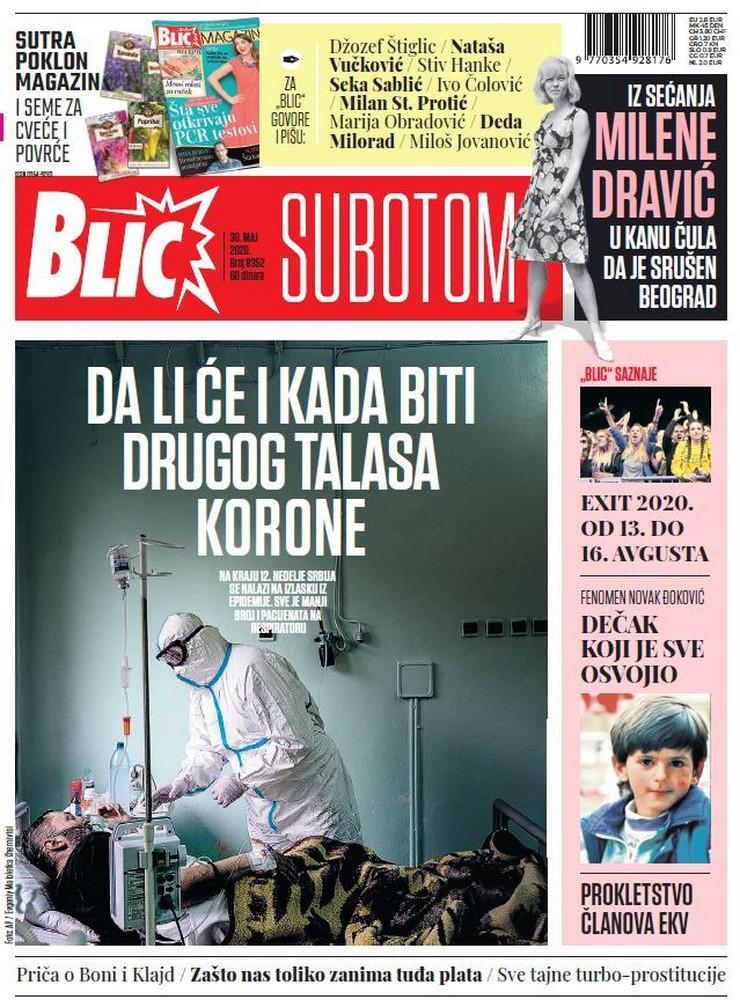 Blic, naslovna za 30.05.2020.