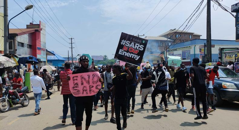 #EndSARS protesters in Lagos (image used for illustration) [Pulse]