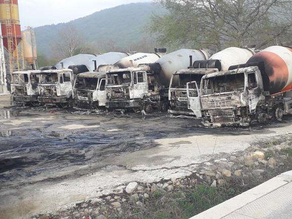 Paljenjem devet kamiona napravljena je šteta preduzeću od oko 600.000 evra