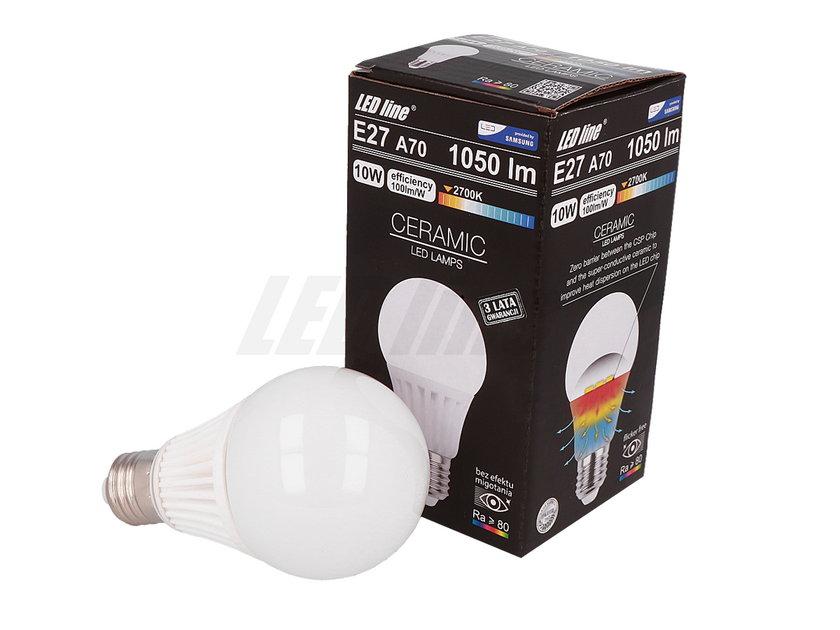 Żarówka LED line E27 CSP 170-265V 10W 1050LM biała ciepła 2700K A70