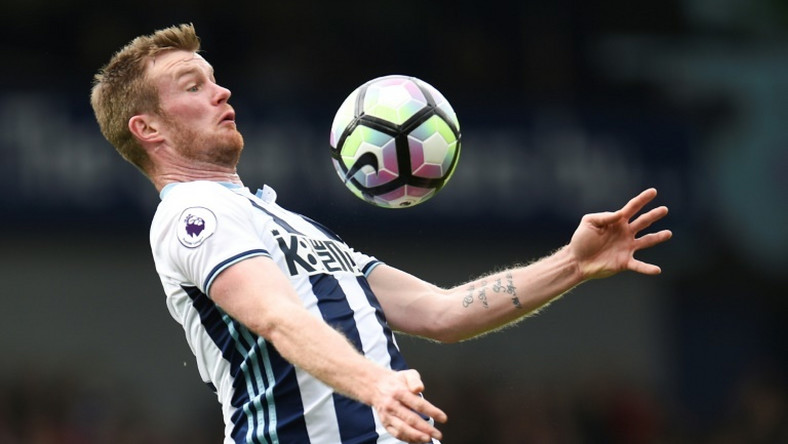 The Baggies' hope of an immediate return to the top-flight were dented when captain Chris Brunt (pictured May 2017) was sent-off 10 minutes from the end of normal time