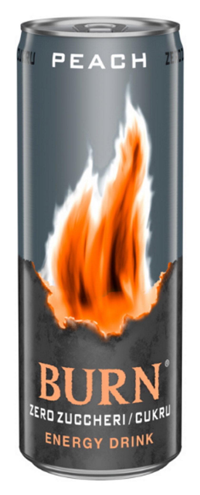 Burn Zero Peach (Fury), gazowany napój energetyczny 250 ml