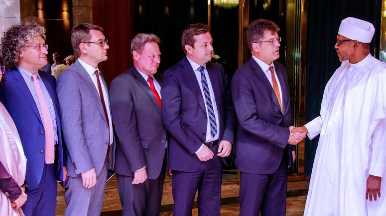 Image result for Buhari meets EU Commissioner, assures an end to humanitarian crisis