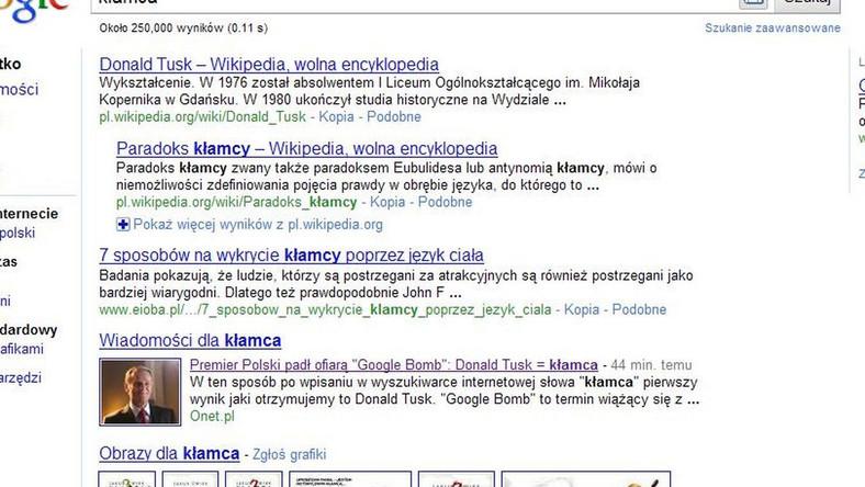 """Wpiszesz """"kłamca"""" w Google - wyskoczy Tusk"""