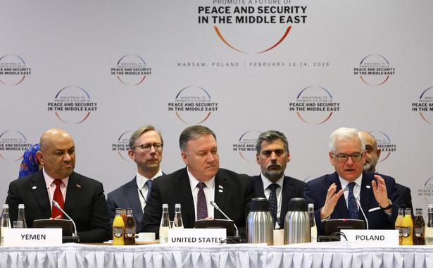 Jacek Czaputowicz, Mike Pompeo, Khaled al-Yamani na konferencji bliskowschodniej w Warszawie.