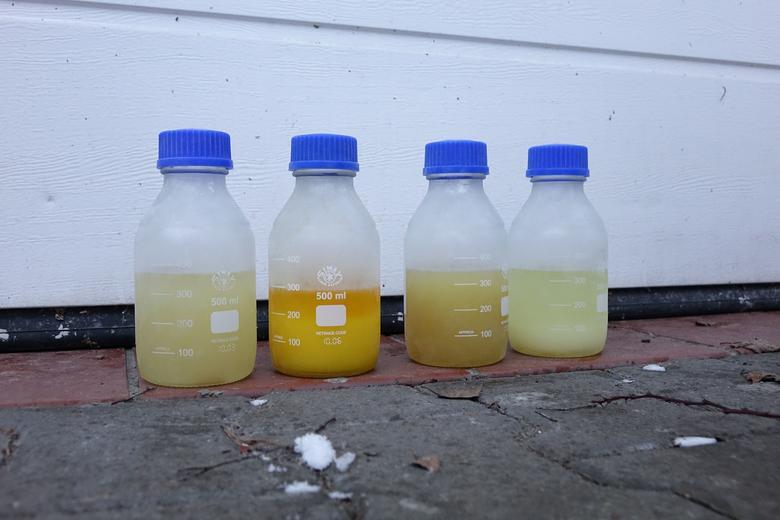 """Oto próbki paliw z różnych stacji przetrzymane w zamrażarce w temperaturze -24 st. C: jedne tylko zmętniały, inne zrobiły się """"glutowate"""", zaś próbka z wysoką zawartością biokomponentów zrobiła się gęsta jak masło!"""