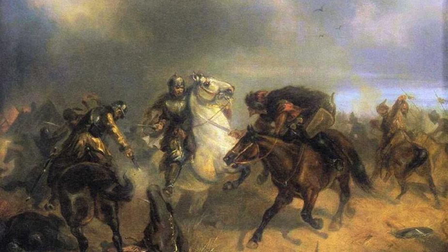 """Obraz Artura Grottgera z 1855 roku pt. """"Tatarzy w ucieczce"""" – fot. domena publiczna"""