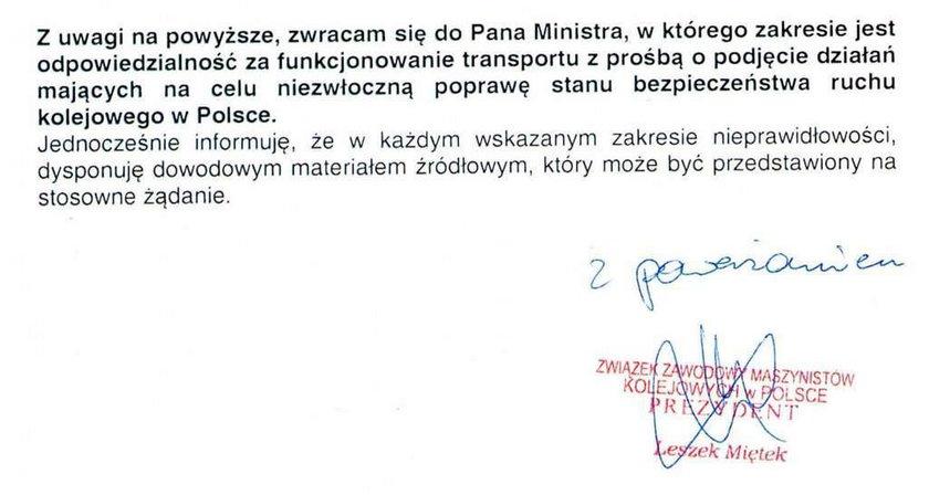 Maszyniści ostrzegali ministra: Zginą ludzie