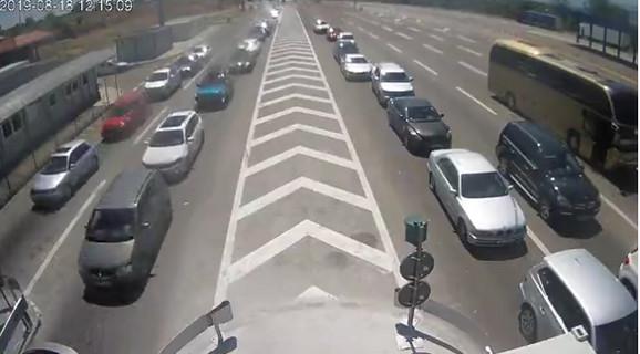 Granični prelaz Preševo na ulazu u Srbiju, trenutno