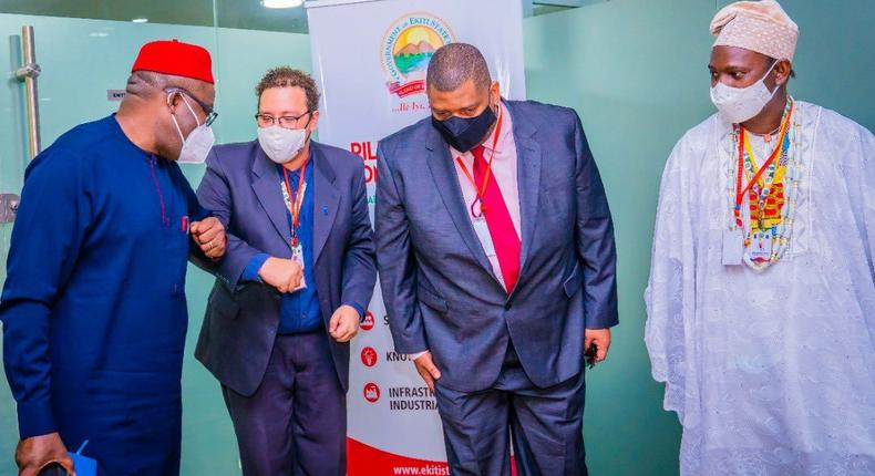 L-R: Governor Kayode Fayemi; the General Secretary of the Africa –Brazil International Forum, Lucas Andrade; Jorge Kibanazambi, the President and Founder of Africa Brazil and a the Commissioner for Culture and Tourism, Prof Rasak Ojo Bakare. [Twitter/@ekitistategov]