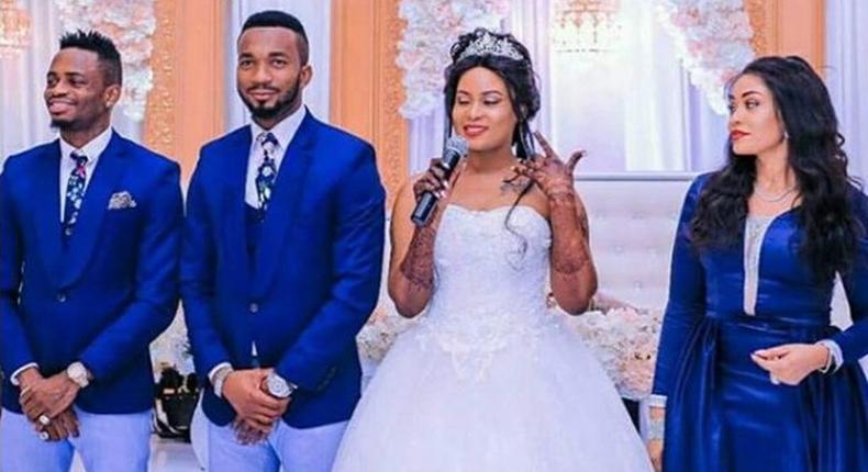 Diamond Platnumz, Romy Jones and his wife, Zari Hassan during the Wedding day