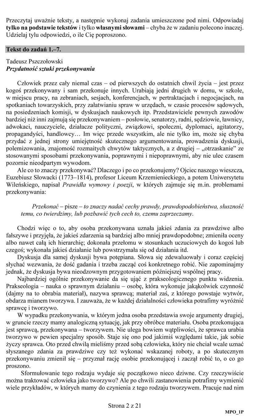 Egzamin maturalny z j. polskiego