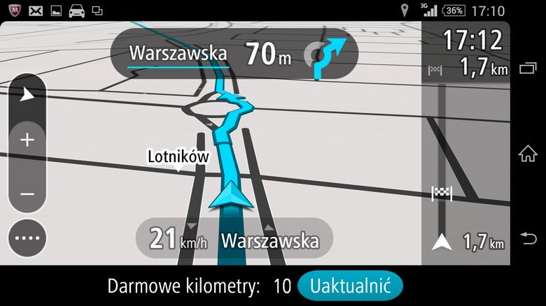 Układ menu jak i wyświetlanie wskazówek nawigacyjnych łudząco podobne do programu znanego z nawigacji samochodowych TomTom GO nowej generacji