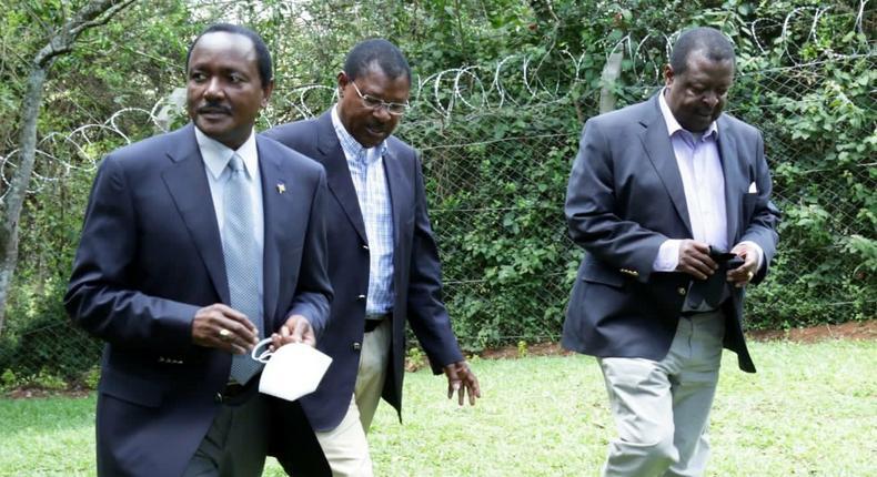 Wiper party leader Kalonzo Musyoka, Ford-Kenya party leader Moses Wetangula and ANC party leader Musalia Mudavadi