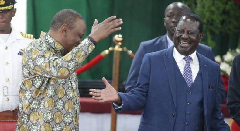 President Uhuru Kenyatta with Raila Odinga