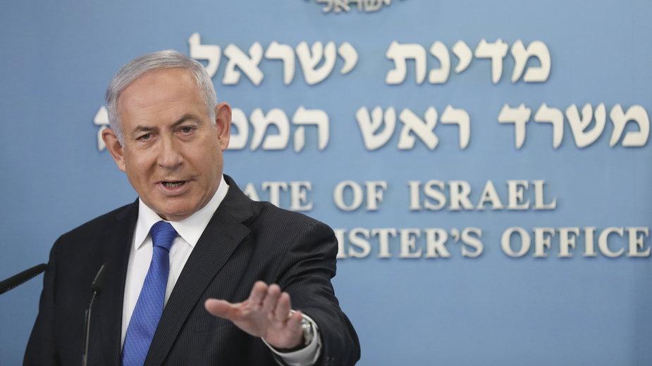 Premier Izraela Benjamin Netanjahu ogłasza w Jerozolimie nawiązanie relacji dyplomatycznych z ZEA, 13 sierpnia 2020 r.