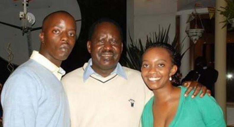 Opposition leader Raila Odinga (centre), son Raila Jr (left)