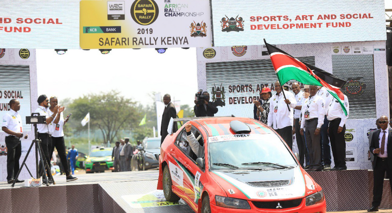 President Uhuru Kenyatta flaging off the 66th Edition of Kenya's legendary Safari Rally at Moi International Sports Centre, Kasarani.