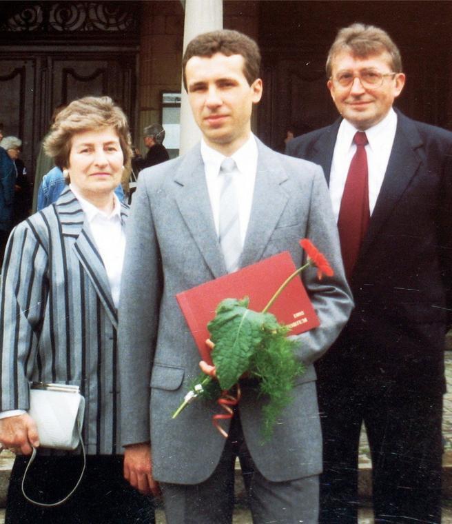 Jarosław Ziętara z rodzicami, 1992 rok