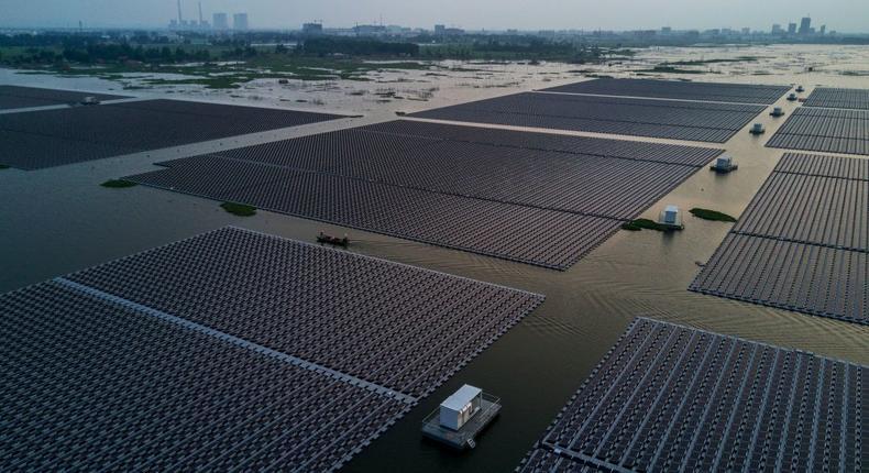 A large floating solar farm.