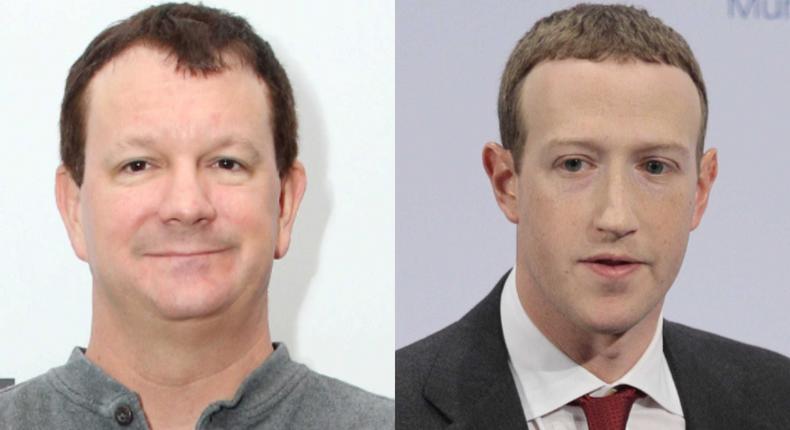 Brian Acton, a founder of Signal, and Facebook CEO Mark Zuckerberg. Facebook owns WhatsApp.