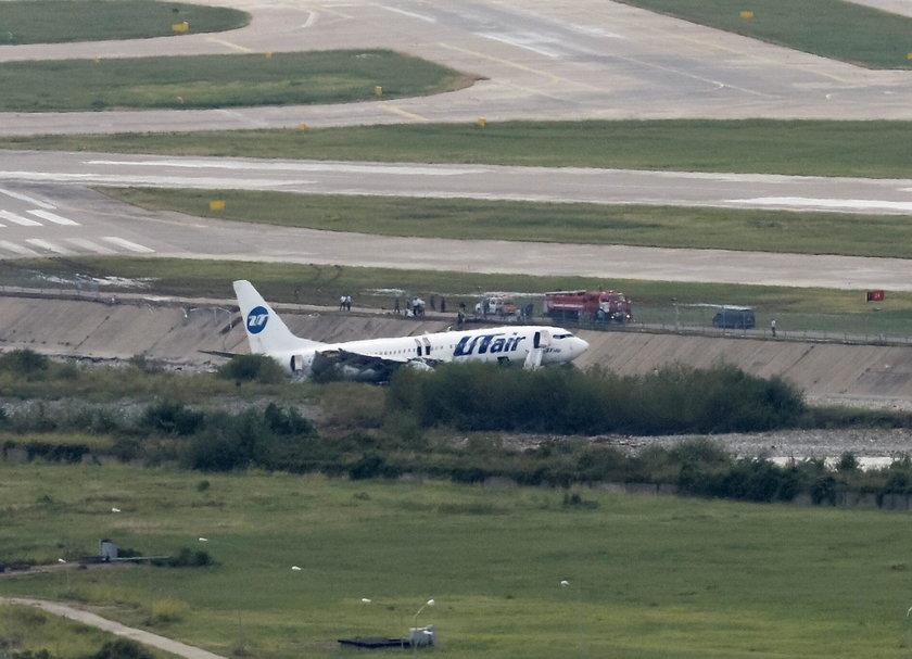 Utair Boeing 737-800 passenger plane is seen off an airport runway in Sochi
