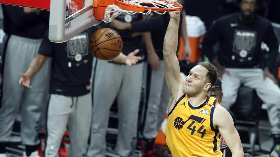 Historia mówi, że duże szanse na finał mają Utah Jazz n/z  Bojan Bogdanovic