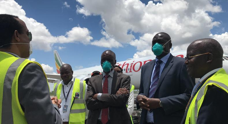 Kenya's Ministry of Health officials receiving the country's share of Jack Ma Foundation donation at JKIA. 6 million face masks belonging to German army allegedly misplaced at JKIA