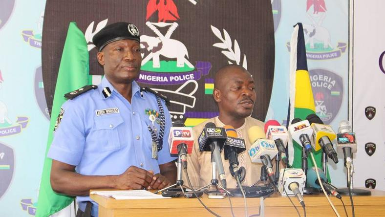 Force Public Relations Officer, Jimoh Moshood, parades Ismail Yakubu to the media