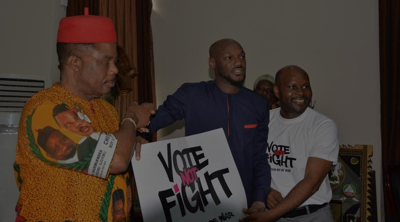 2baba taking his 'Vote Not Fight' campaign to Governor Willie Obaino of Anambra State [VoteNotFight]
