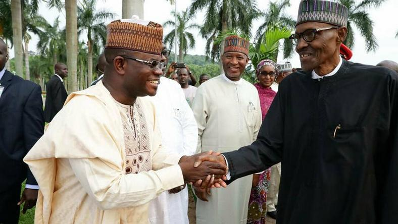 Governor Yahaya Bello (left) with President Muhammadu Buhari (right)