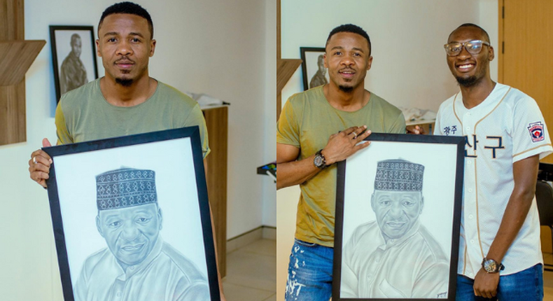 Alikiba in tears as fan surprises him with a portrait of his late Father (Video)