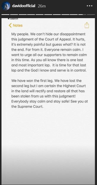 Davido shares his thoughts on his uncle's defeat at the appeal court [Instagram/DavidoOfficial]