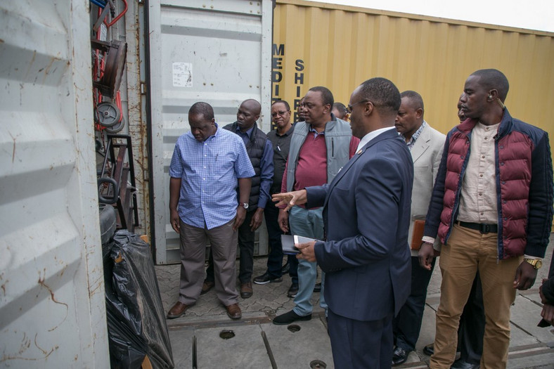 President Uhuru Kenyatta with top government officials at Embakasi Inland Container Terminal (PSCU)