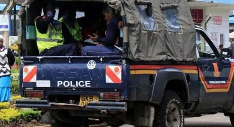 File image of a police vehicle ferrying suspects