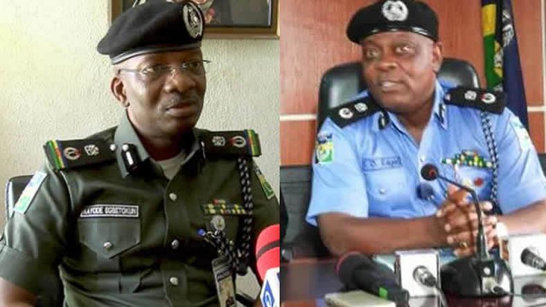 Kayode Egbetokun (L) takes over from Imohimi Edgal (R) as police chief of Lagos, Nigeria's commercial capital (Punch)
